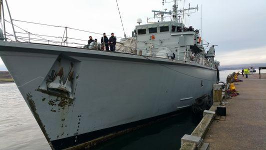 HMS Quorn Docked
